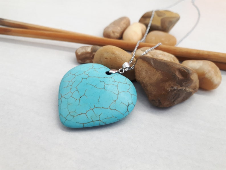 Sterling Silver Necklace Turquoise Jewelry Turquoise Heart Pendant Necklace Heart Shape Jewelry Gift for women Turquoise Necklace