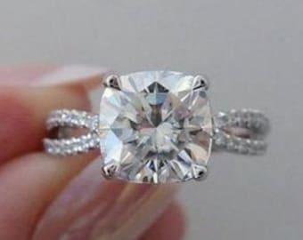 3 Ct Cushion Moissanite Engagement Ring, 14K Gold Cushion Ring, Hidden Halo Cross Over Band Ring, Simulated Cushion Cut Silver Wedding Ring