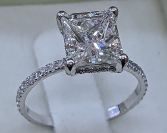3Ct Princess Cut Moissanite Diamond Ring, Solitaire With Side Stones Ring, 925 Silver Ring, Simulated Diamond Ring, Diamond Promise Ring