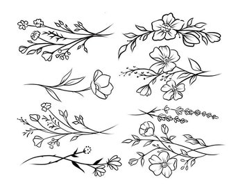 Wildflowers Temporary Tattoo Sheet / flower tattoo multipack / temporary tattoo set of 8