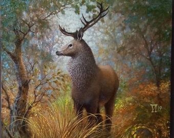 "Deer painting Animal wall art 18 x 24"" Original Oil Painting on Canvas"