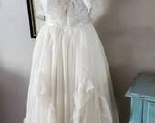 Vintage Gunne Sax Maxi Dress in White Swiss Dot size 7
