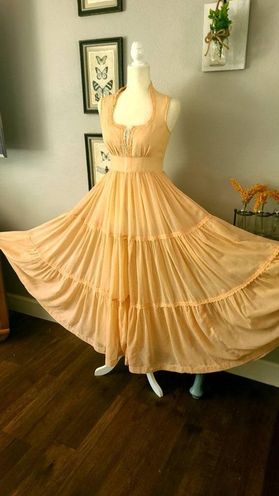 Gunne Sax Peach Maxi Dress   Boho 1970's Vintage … - image 2
