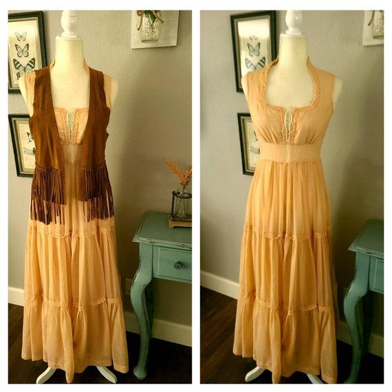 Gunne Sax Peach Maxi Dress   Boho 1970's Vintage … - image 5