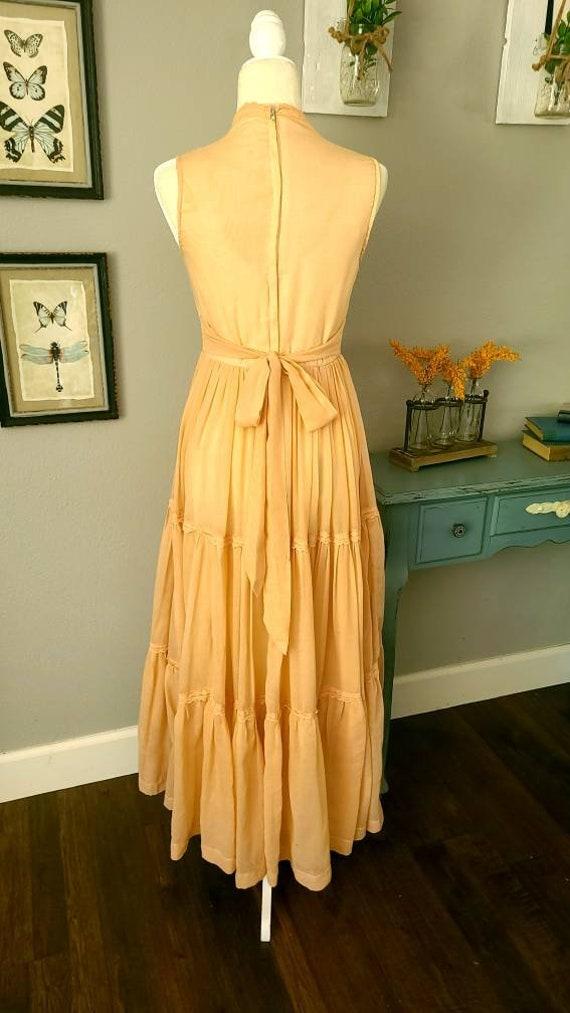 Gunne Sax Peach Maxi Dress   Boho 1970's Vintage … - image 3