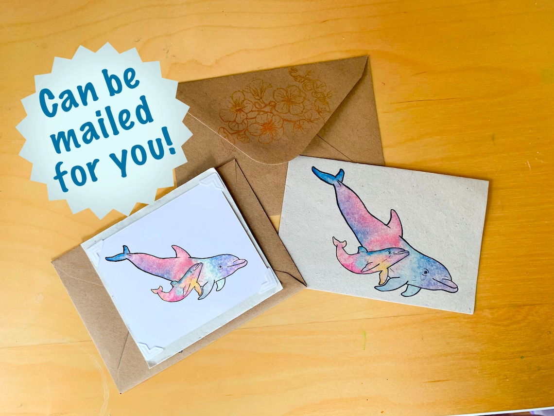 dolphin blank card seed paper card ecofriendly card