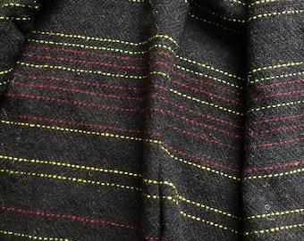 Handwoven tweed - Black Welsh Mountain stripe