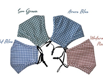 Anti fog cotton face mask with VENT, Gingham face mask with filter pocket, face mask with nose wire, face mask with filter, mask with VENT