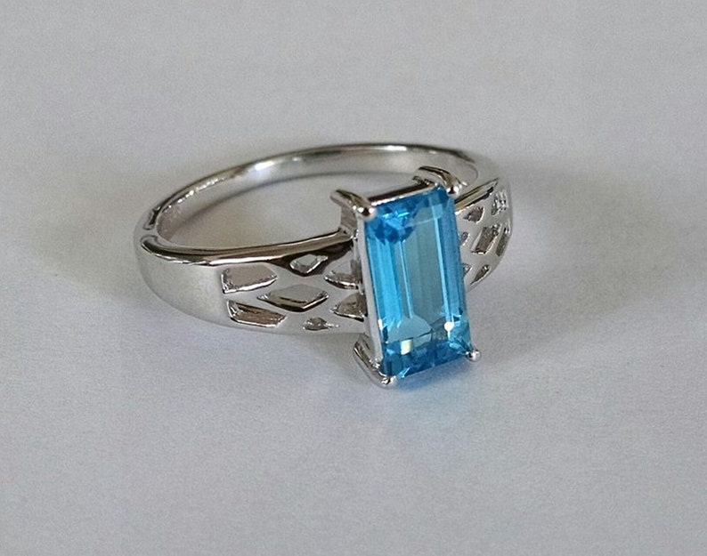 blue gemstone ring London blue topaz ring sterling silver rectangle ring engagement ring halo ring
