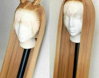 Luxury Remy Honey Golden Blonde #27 100% Human Hair Swiss 13x4 Lace Front Glueless Wig 360, Full Lace or U-Part Upgrade Available