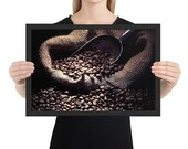 Framed Poster, Coffee Beans Poster, Wall Decor, Coffee Shop, Wall Art, Photography