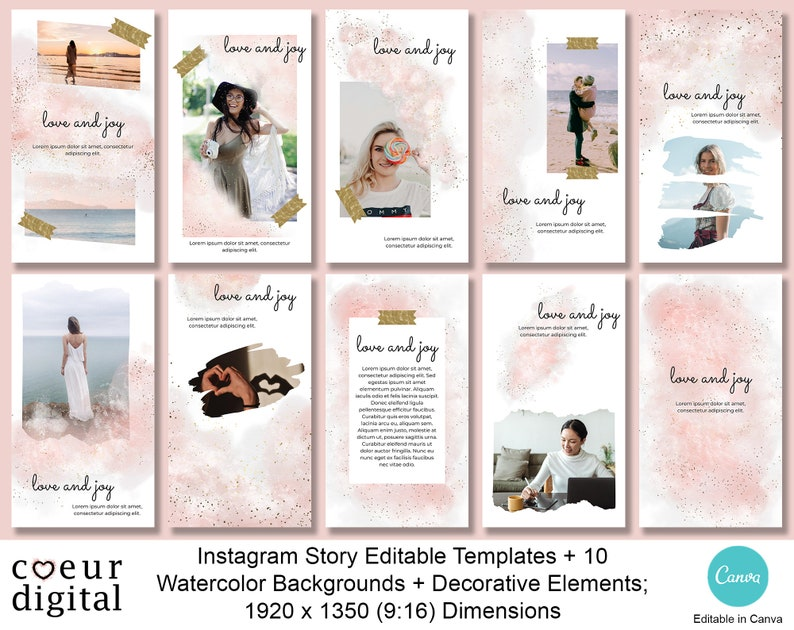 Editable Instagram Story Templates for Canva Watercolor image 0