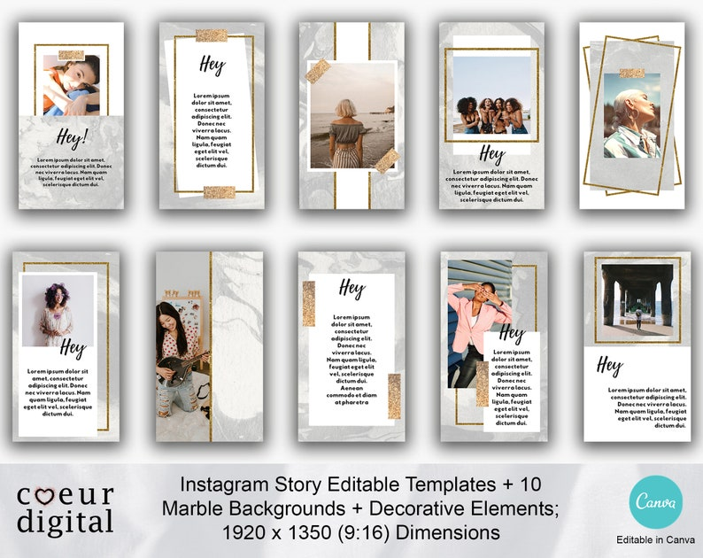 Editable Instagram Story Templates for Canva Marble Pattern image 0