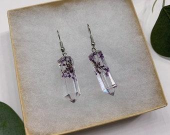 Pressed Flowers Earrings | Crystals