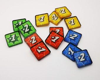 Marvel Champions LCG - Stat Boost power tokens (+1/+2) - [4 Pcs each colour]