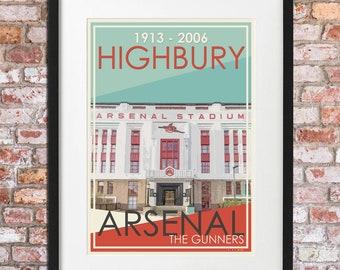 ARSENAL FC HIGBURY vintage style gift print A3 size