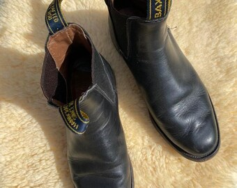 Vtg 90s Blk Leather Western Ankle Boots / sz 8 / Baxter Leather Boho Boots