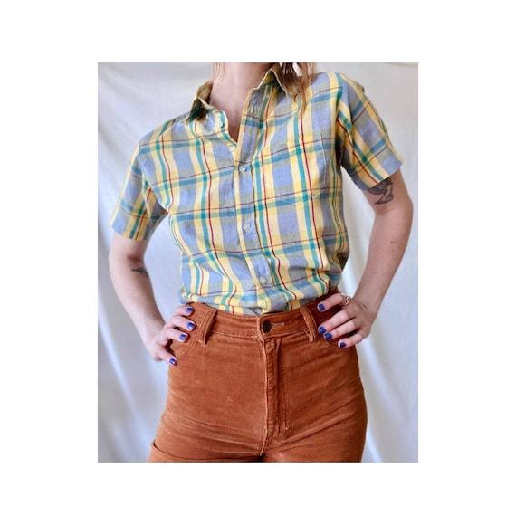 Plaid Western Shirt / Vintage Plaid Western 70s Sh