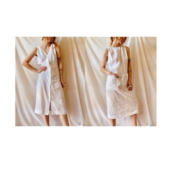 80s Linen Shift Tunic Dress - Reversible / Vintage