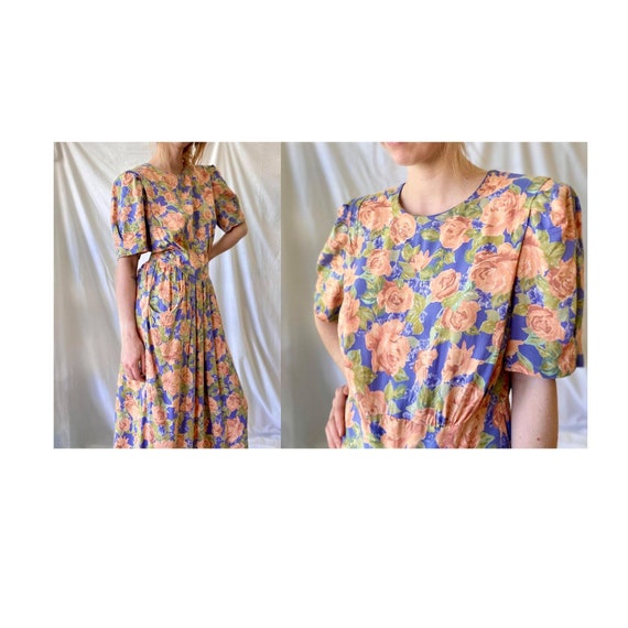 80s Floral Tea Dress / Vintage Cotton Grunge Dress