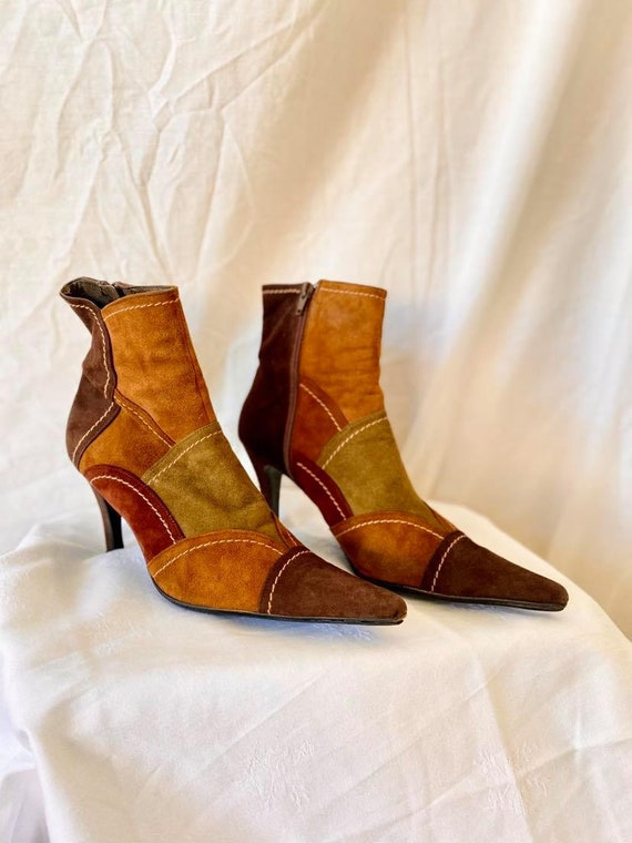 Suede Patchwork Ankle Boots / Womens Leather Ankle