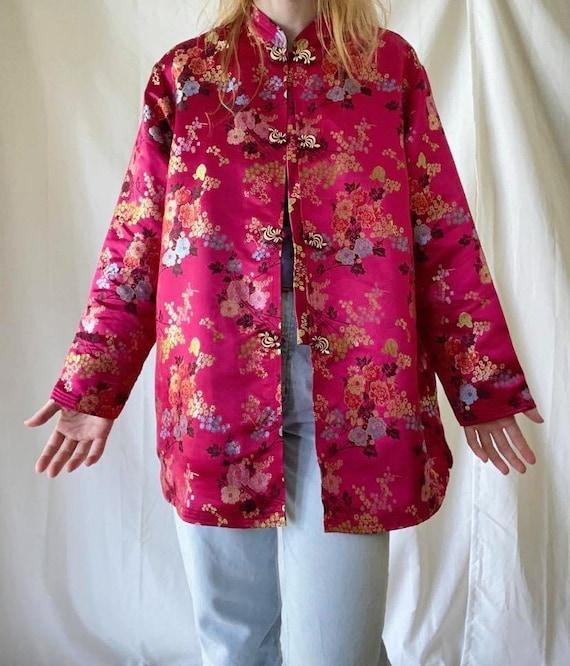 Fuschia Pink Tang Jacket / Chinese Floral Brocade