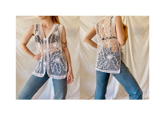 80s Embroidered Lace Blouse / Vintage Lace Blouse