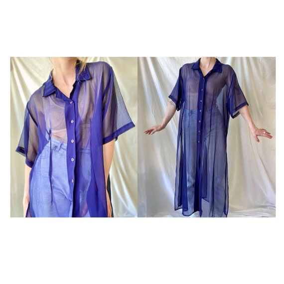Sheer Indigo Shirt Dress Vintage 80s