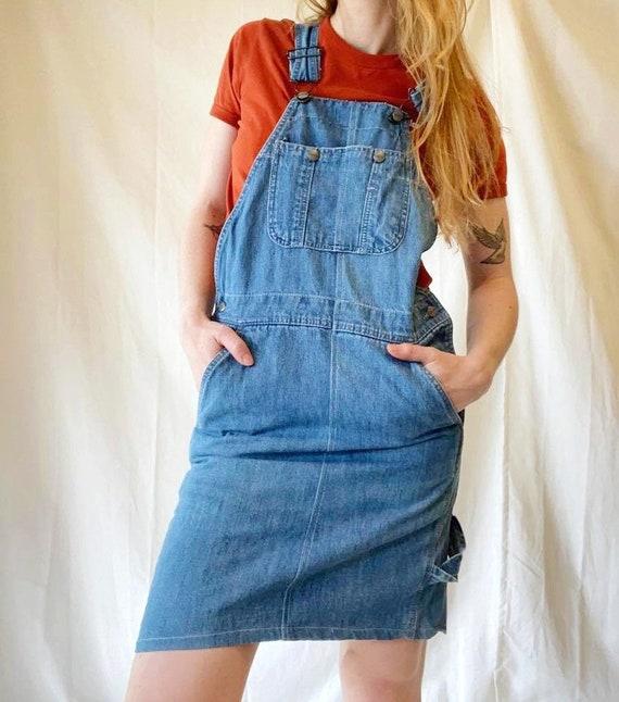 Vintage Denim Dungarees Skirt / Pinafore Dress / 9