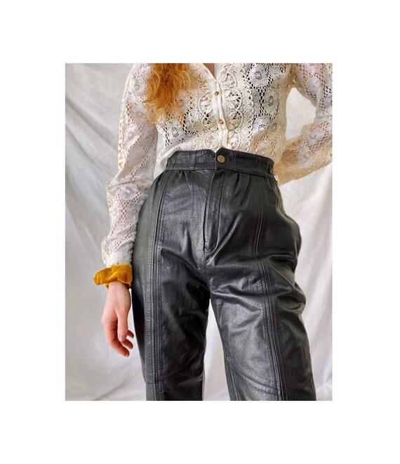 80s High Waisted Leather Biker Pants / Vintage Bla