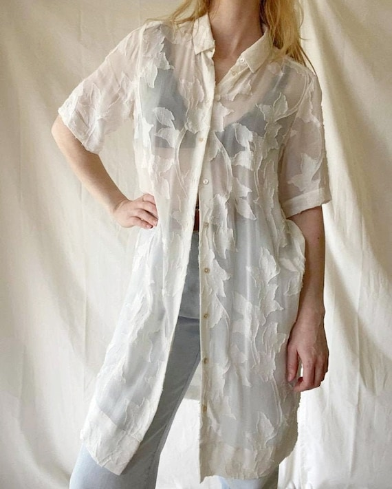 Boho Shirt Dress / Sheer Shirt Dress