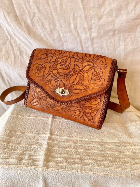 Vintage Tooled Leather Bag / 1970s Tooled Leather