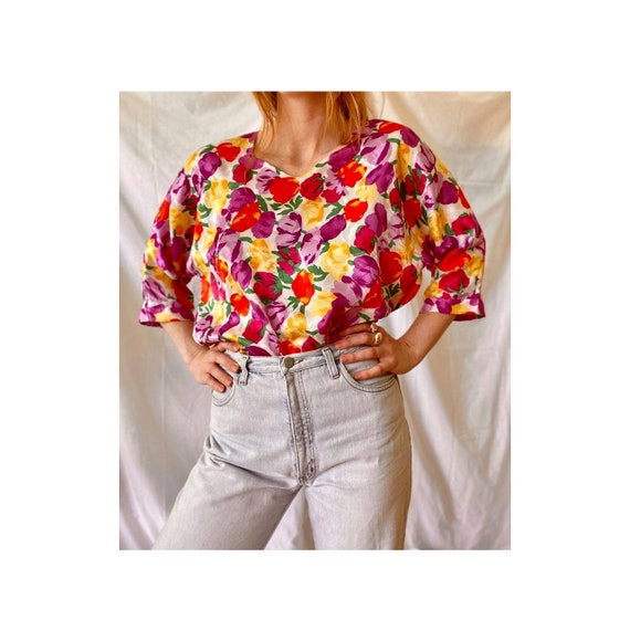 80s Floral Funky Blouse / Vintage Floral Blouse To