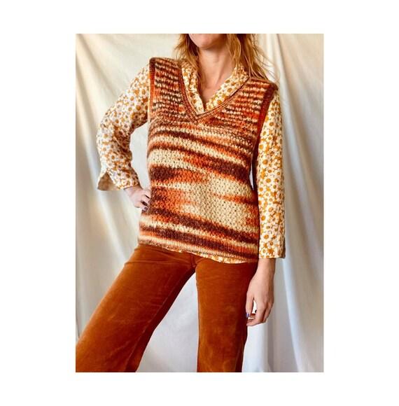 1970s Knit Wool Vest / Retro Orange Brown Knit Swe
