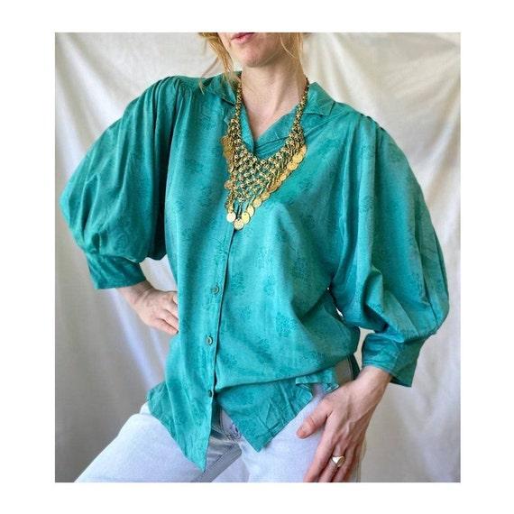 Vintage 1970s Turquoise Boho Blouse / Retro 70s 80