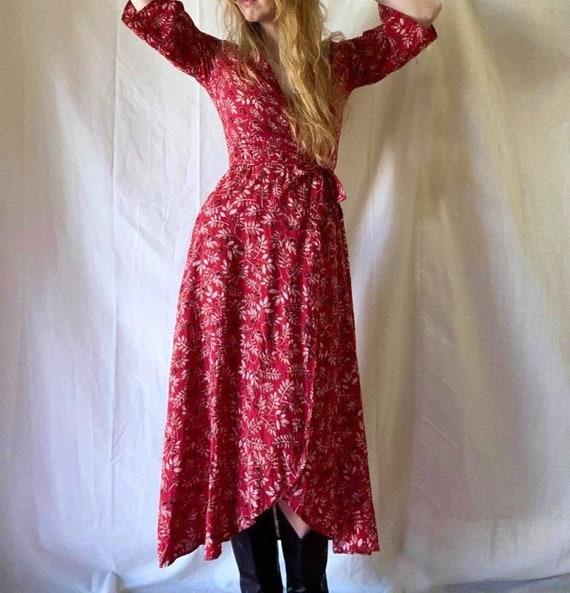 Vintage Batik Printed Wrap Dress / Wrap Dress / Vi
