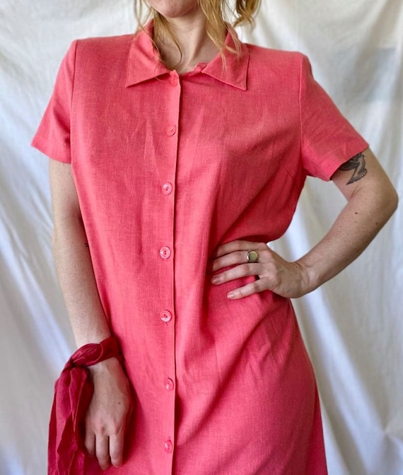 Watermelon Pink 80s Day Dress