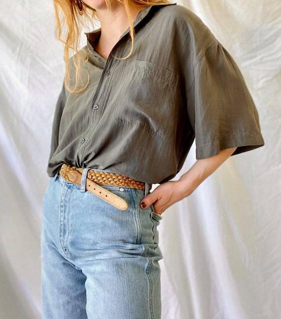 Vintage Silk Button Up Shirt Blouse / 90s Silk Blo