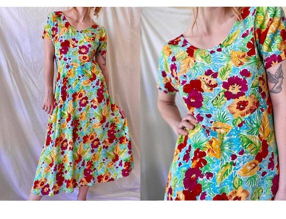 90s Hawaiian Print Cotton Floral Summer Dress / Tr