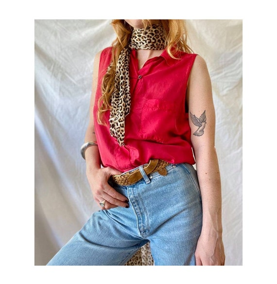 Strawberry Kiss 90s Silk Sleeveless Shirt / Vintag