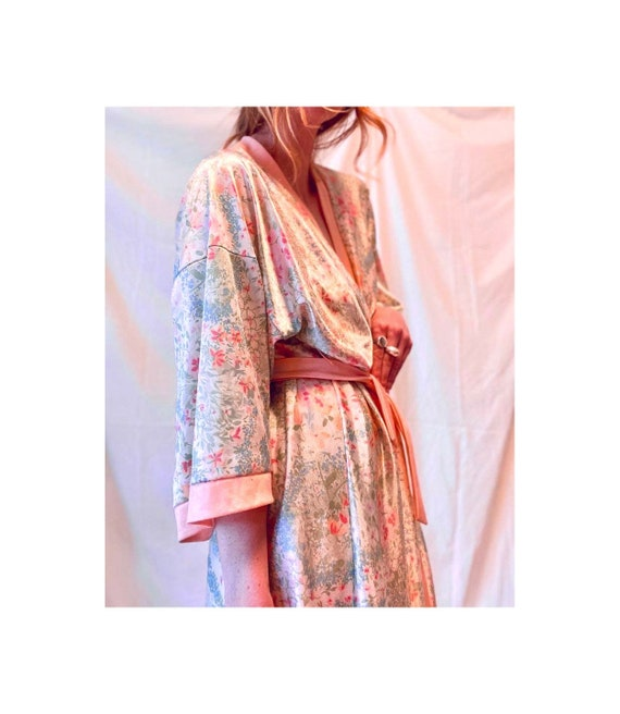 Original 60s 70s Floral Robe / Vintage Floral Gown