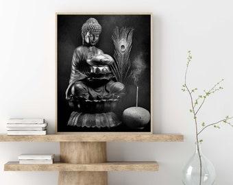 Yoga Wall Art Buddha Contemplates Flame Wall Art Zen Digital Download Meditation Art Black and White Buddha Wall Art Buddha Painting