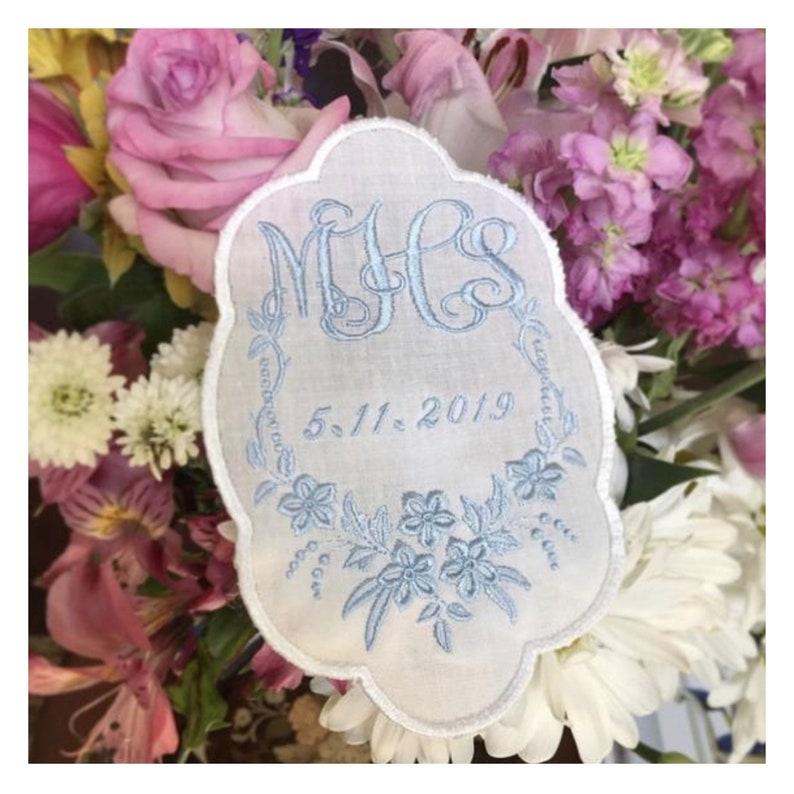 Wedding dress label something blue wedding keepsake