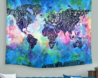 """59"""" x 51"""" Vintage World Map Abstract Design Polyester Wall Hanging Tapestry Home Office Decor"""