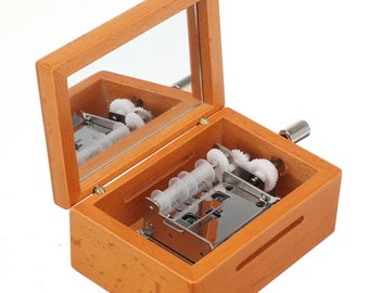 15 Note DIY Hand-Cranked Wooden Music Box for Birthday Gifts with Hole Puncher And 10 Paper Tapes
