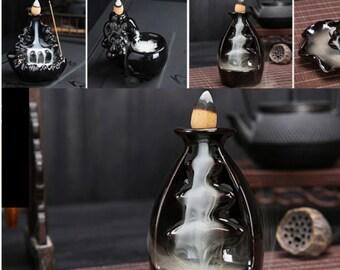 Porcelain Backflow Ceramic Cone Incense Burner Holder Cones Home Decor Meditation Gift