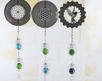 Home Wind Chime Hanging Ornament Spinner Spiral Rotating Crystal Ball Yard Decor