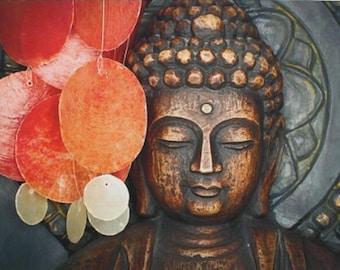 "HD Statue Meditation Print on Cambric Home Room Yoga Studio Art Decor - 50*75cm (19.6""X29.5"")"