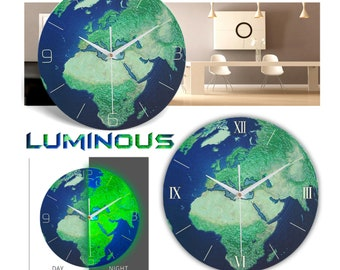 Retro Creative Wall Clock Luminous Earth Glow In the Dark Home Decor