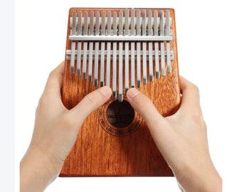17 Keys Wood Kalimba Mahogany Thumb Piano Finger Percussion Musical Toys With Tuning Hammer
